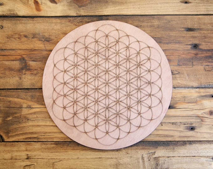 """Wooden life flower 25 cm (10"""" inches) - Color grid - Engraving - Energy - Laser cutting - Craftsman"""