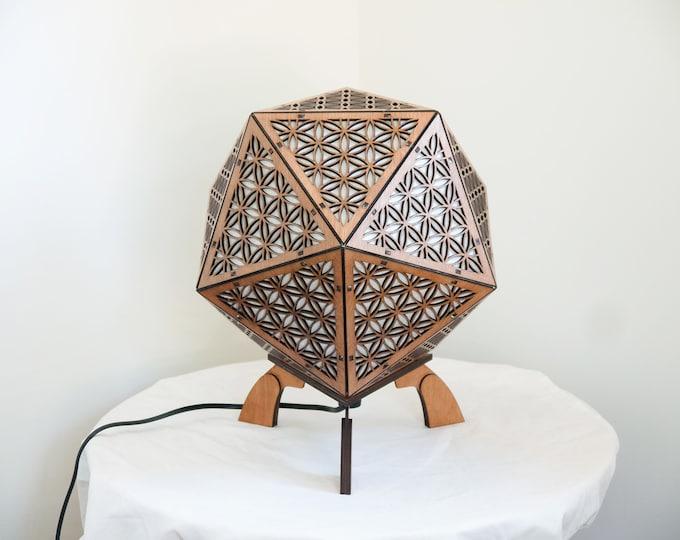 Wooden lamp - bedside lamp - suspension - platonic shape icosahedron- flower of life - Laser cut.