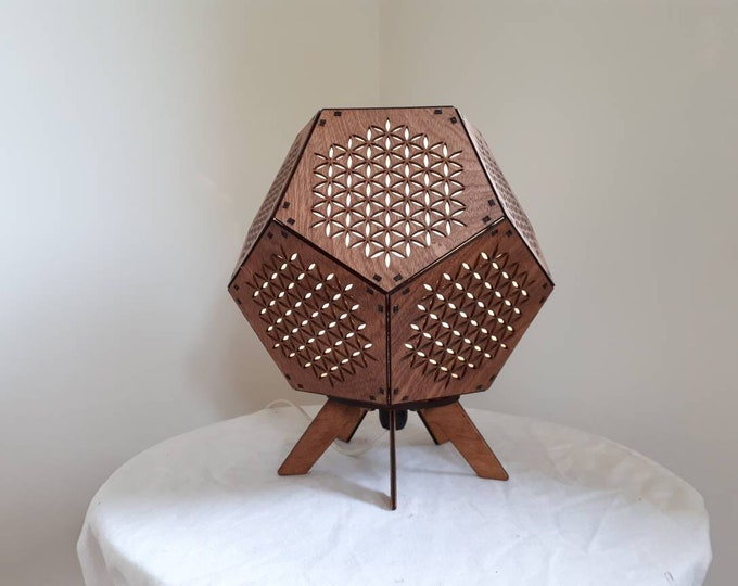 Lifetime flower wooden lamp - 32 cm - Sacred geometry in the shape of a dodecahedre for a zen and relaxing atmosphere - Craftsmanship.