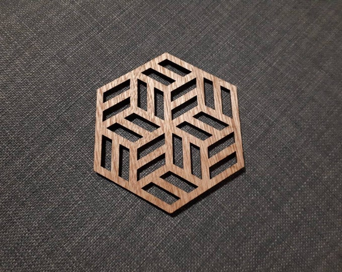 4 Wooden coasters geometric pattern, relaxation tea. Handcrafted laser cutting.