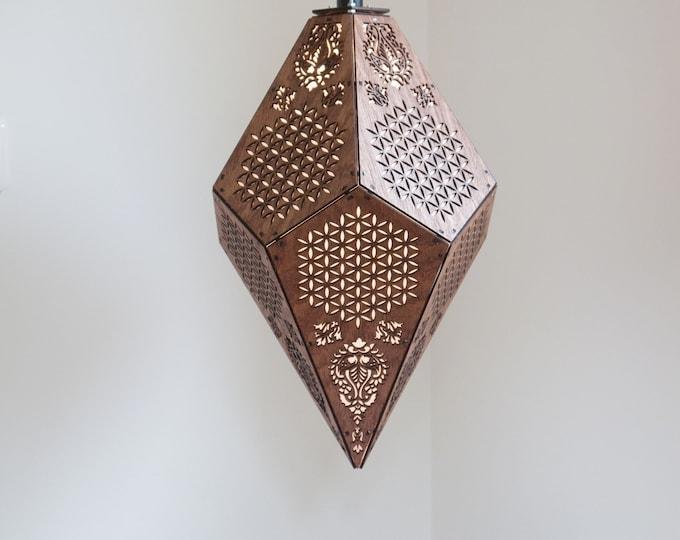"Crystal-shaped wood flower of life lamp - Suspension of 42 cm in height 17"" - Sacred Geometry - Boho Atmosphere - Artisanal"