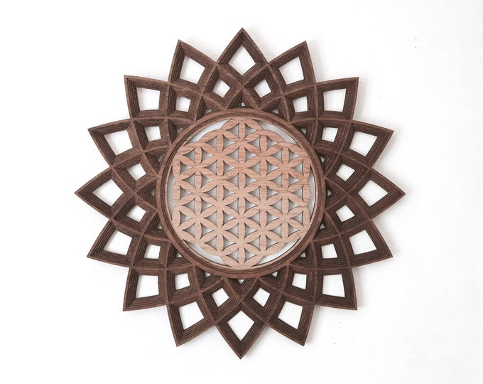 Wooden Wall Life Flower - Sacred Geometry - Multilayer Table - Laser Cutting - Craftsmanship