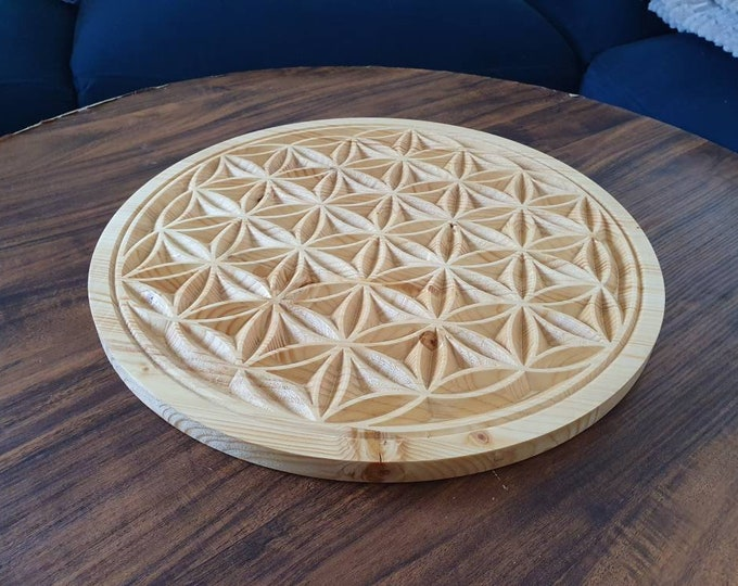 Large solid wood life flower 20 to 40cm in diameter - energy grid - Sacred Geometry.