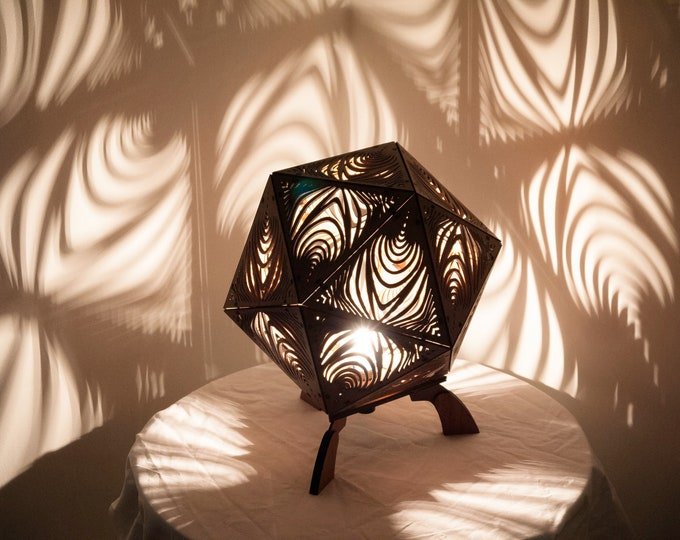 Wooden lamp - bedside lamp - suspension - platonic shape icosahedron - drawing Zebra projection of shadows. Laser cutting.