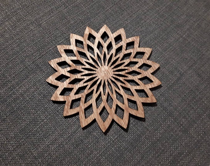 Wooden coasters pattern mandala lotus. Sacred geometry, relaxation tea. Handcrafted laser cutting.