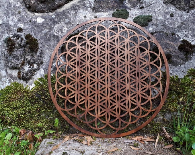 Life flower in wall wood - large sacred geometry - handcrafted laser cutout.