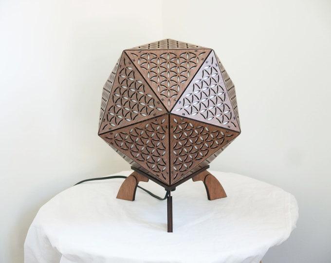 Wooden lamp living flower - bedside lamp - suspension - platonic shape icosahedron- sacred geometry - Laser cut.