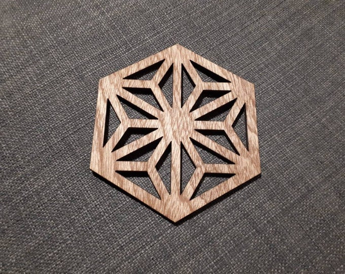 Wooden coasters geometric pattern Japanese style, relaxation tea. Handcrafted laser cutting.