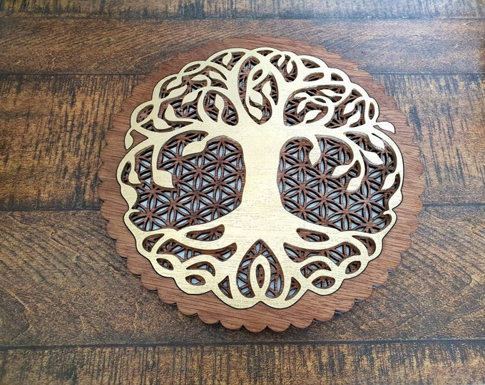 Abre de vie and 25cm wooden flower of life - golden hue and cherry - laser cut in relief.