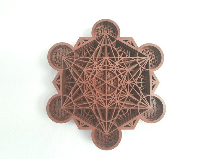 Wooden Metatron Painting - Sacred Geometry - Flower of Life - Laser Cut - Craft Realization