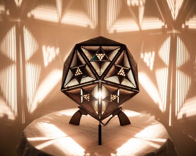 Wooden lamp to lay - bedside lamp - suspension - platonic shape icosahedron - fractal drawing projection of shadows. Laser cutting.
