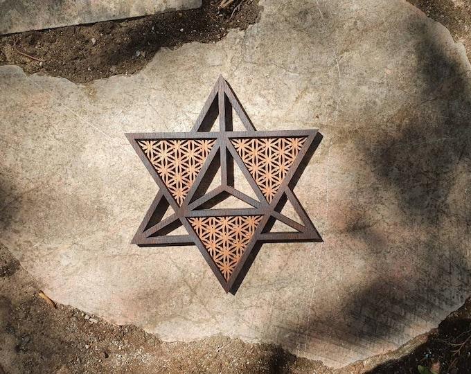 Merkaba - flower of life - sacred geometry - wood