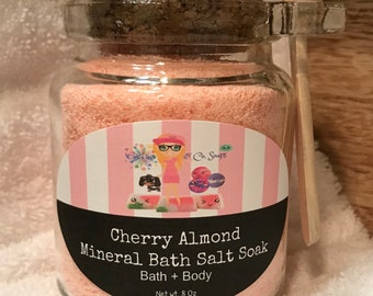 Cherry Almond | Mineral Bath Sea Salt Soak | Powderd Bath Bomb |Therapeutic |