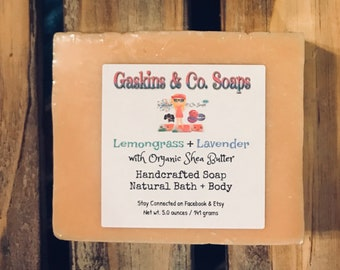 Lemongrass + Lavender Essential Oil Natural Handmade Soap   Made With Organic Shea Butter & Olive Oil