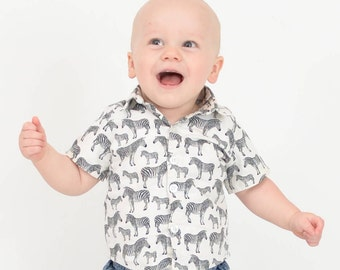 Baby Boy Button up Shirt UK, Zebra's, Made to Order, Celebrations, Party Wear, Front Button baby Shirt, Wedding Shirt. First Birthday Outfit