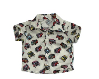 Baby Boy Button Shirt UK, 3-6 Months, VW Camper Vans, Party Wear, Front Button up baby Shirt, Wedding Wear. Party wear.
