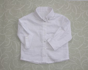 Baby Boy Long Sleeved Formal White button up Shirt UK, Wedding Wear Party Wear, Front Button baby Shirt. 0-18 Months.