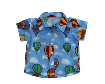 Baby Boy Button up Shirt UK, Hot Air Baloons, 3-6 Months. Wedding, Party Wear. Front Button baby Shirt.