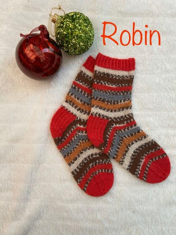 Hand knitted Christmas socks UK size 3-5