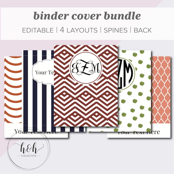 2018 planner cover printable editable binder covers set of etsy