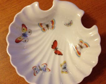 """Vintage Limoges France Scalloped Butterfly Dish 5"""""""