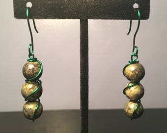 Dyed Quartzite Stone Wire Wrapped Dangle Earrings
