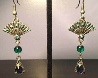 Art Nouveau Fan Gem Earrings