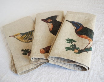 Linen napkins with antique bird prints, set of natural linen napkins, table linen, natural printed cloth napkin, washed linen
