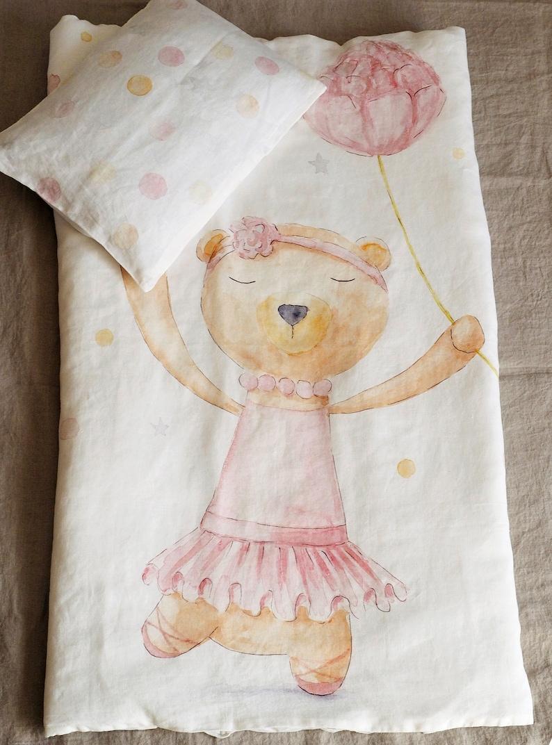 Leinen Baby Mädchen Bettwäsche Set Mit Ballerina Print Krippe Etsy