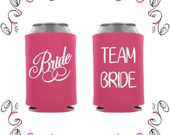 Hot Pink Bridal Party Beverage Insulators Can Coolers Drink Sleeves