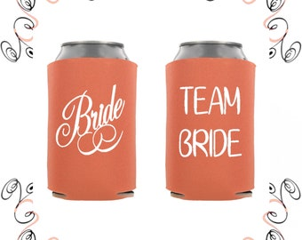 Coral Bridal Party Beverage Insulators Can Coolers Drink Sleeves