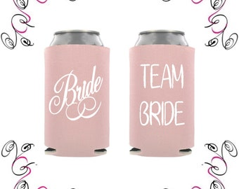 Blush Pink Bridal Party Beverage Insulators Can Coolers Drink Sleeves