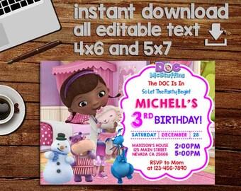 Doc McStuffins Invitation Birthday Invite DiY Personalize Print Editable Instant Download PDF