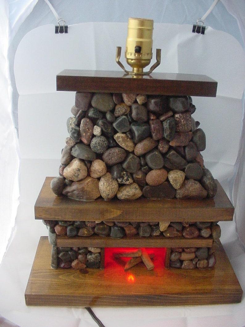 Stone Fireplace Lamp Each Piece Unique Handmade Etsy