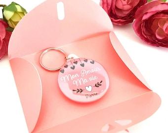 168ed0ec48d4 Porte cle saint valentin personnalisable  badge rose saint valentin miroir  de sac saint valentin cadeau saint valentin femme saint valentin
