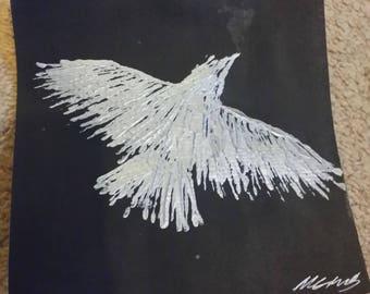 Silver acrylic Bird in Flight.