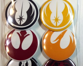 Star Wars symbols pin set. Star Wars Badges, Buttons. Jedi symbols. Sith symbols