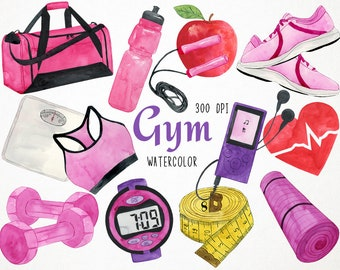 Watercolor Fitness Clipart Workout Gym Exercise Clip Art Equipment Digital Instant Download PNG