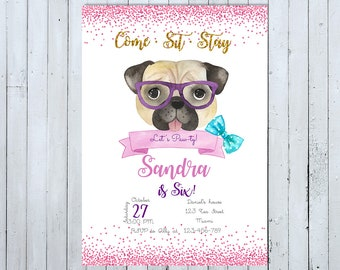 Pug Invitations Etsy