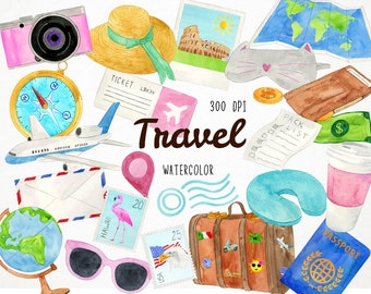 Watercolor Travel Clipart Clip Art Wanderlust Adventure Vacation Roadtrip Luggage
