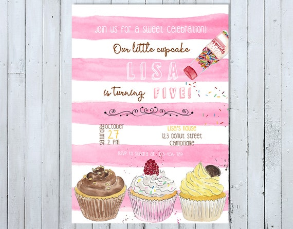cupcake birthday invitation cupcake invitation our little etsy