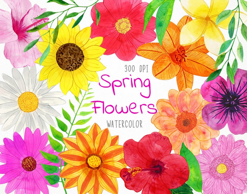 Watercolor Spring Flowers Clipart Spring Clipart Watercolor Etsy