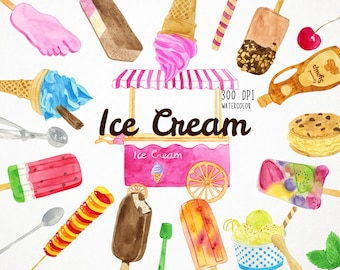 Watercolor Ice Cream Clipart, Watercolor Popsicle Clipart, Ice Cream Truck Clipart, Invitation Clipart Birthday Party Clipart Summer Clipart
