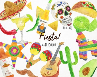 Watercolor Mexican Clipart, Cinco de Mayo Clipart, Fiesta Clipart, Fiesta Clip Art, Pinata Clipart, Mexican Folk Art, Mexican Clip Art