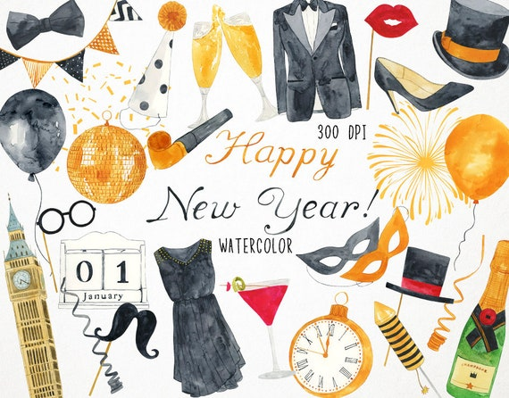 new years clipart new years eve clipart happy new year etsy etsy