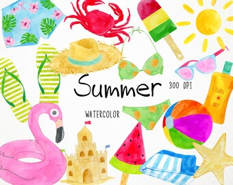 Watercolor Beach Clipart, Watercolor Summer Clipart Summer Clip Art, Beach Clip Art Sun Clipart Seaside clipart Vacation Clipart Digital PNG