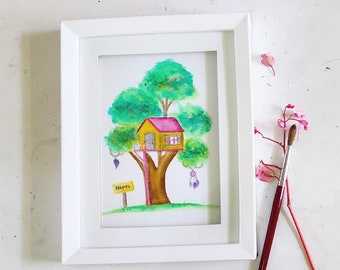 Watercolor Treehouse