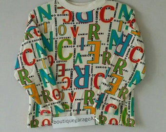 Rare!! ENRICO COVERI sweatshirt spell out pull over 150 size