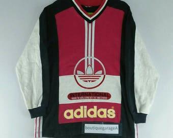 Rare!! Adidas sweatshirt v neck spell out big logo pull over medium size