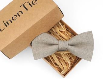 Natural linen color bow tie, beige bow tie, necktie, bow ties for men, groomsmen gift, boys bow ties, wedding bow tie, groomsmen bow tie